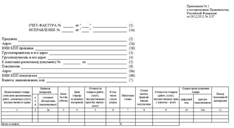 Форма счета-фактуры