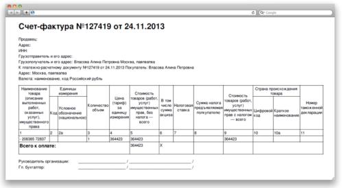 Счет-фактура без внесения единиц измерения